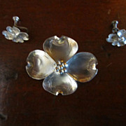 Stuart Nye Sterling Dogwood Brooch and Earrings
