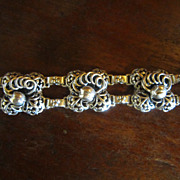 Hobe Sterling Pansy Link Bracelet - 1927  to 1932 Mark