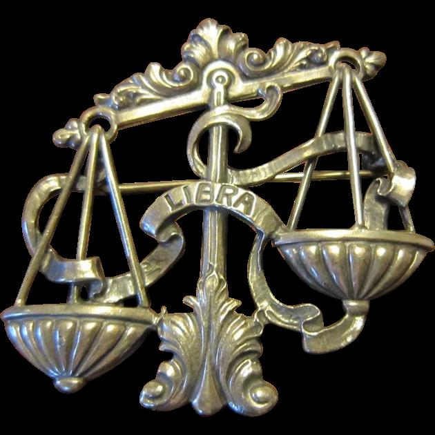 Beautiful Cini Sterling Libra (Scales) Brooch