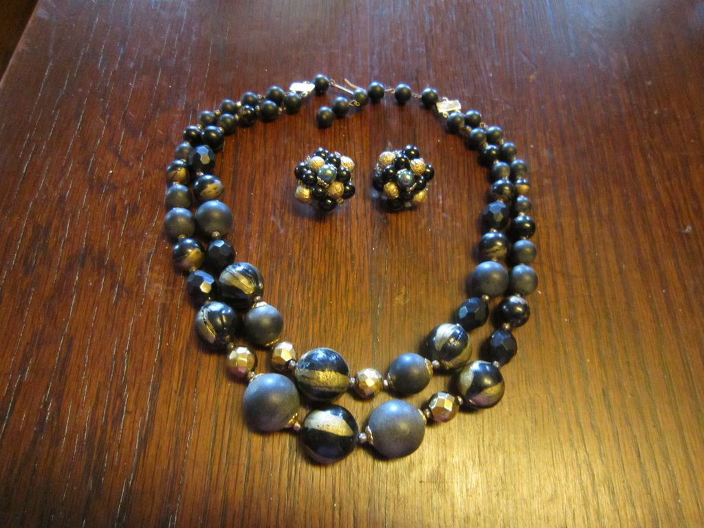 Necklace and Earrings - Black, Grey, Gold Tone. A Go To Set
