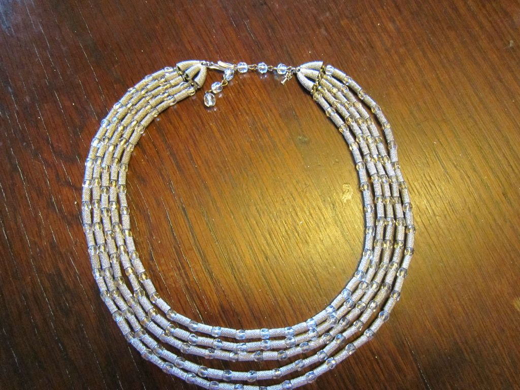 Trifari 1950s 5 Strand Textured Silver Tone and Glass Beads