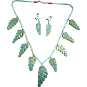 20% OFF SALE: Earrings and  Necklace with Turquoise Leaves