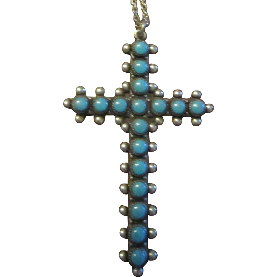 Harvey Era Bell Sterling  Turquoise Cross and Chain Necklace