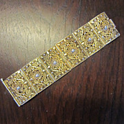 Wide Chinese  Vermeil  Filigree Wide Bracelet