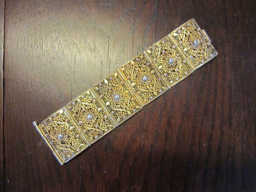 Wide Chinese  Vermeil  Filigree Wide Bracelet