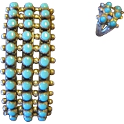 Bell Sterling Turquoise Row Bracelet and Ring - Snake Eyes