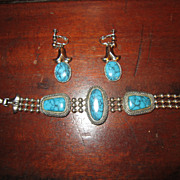 Southwestern Goldette Faux Turquoise and Silver Tone Set