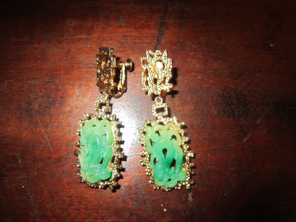 Vendome Chinese Style Faux Jade Earrings