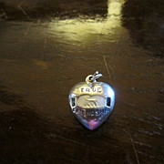 True Friendship Puffy Heart Charm - Enamel on Sterling