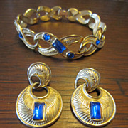 Trifari  Bracelet and Earrings with  Blue Lucite Stones