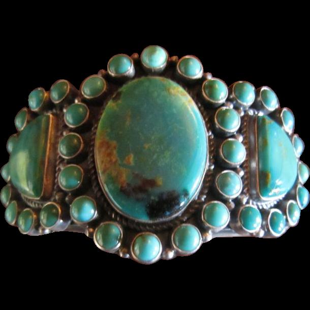 Kirk Smith Sterling Turquoise Cluster Bracelet