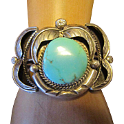 Navajo Old Pawn Turquoise Sterling Cuff Bracelet