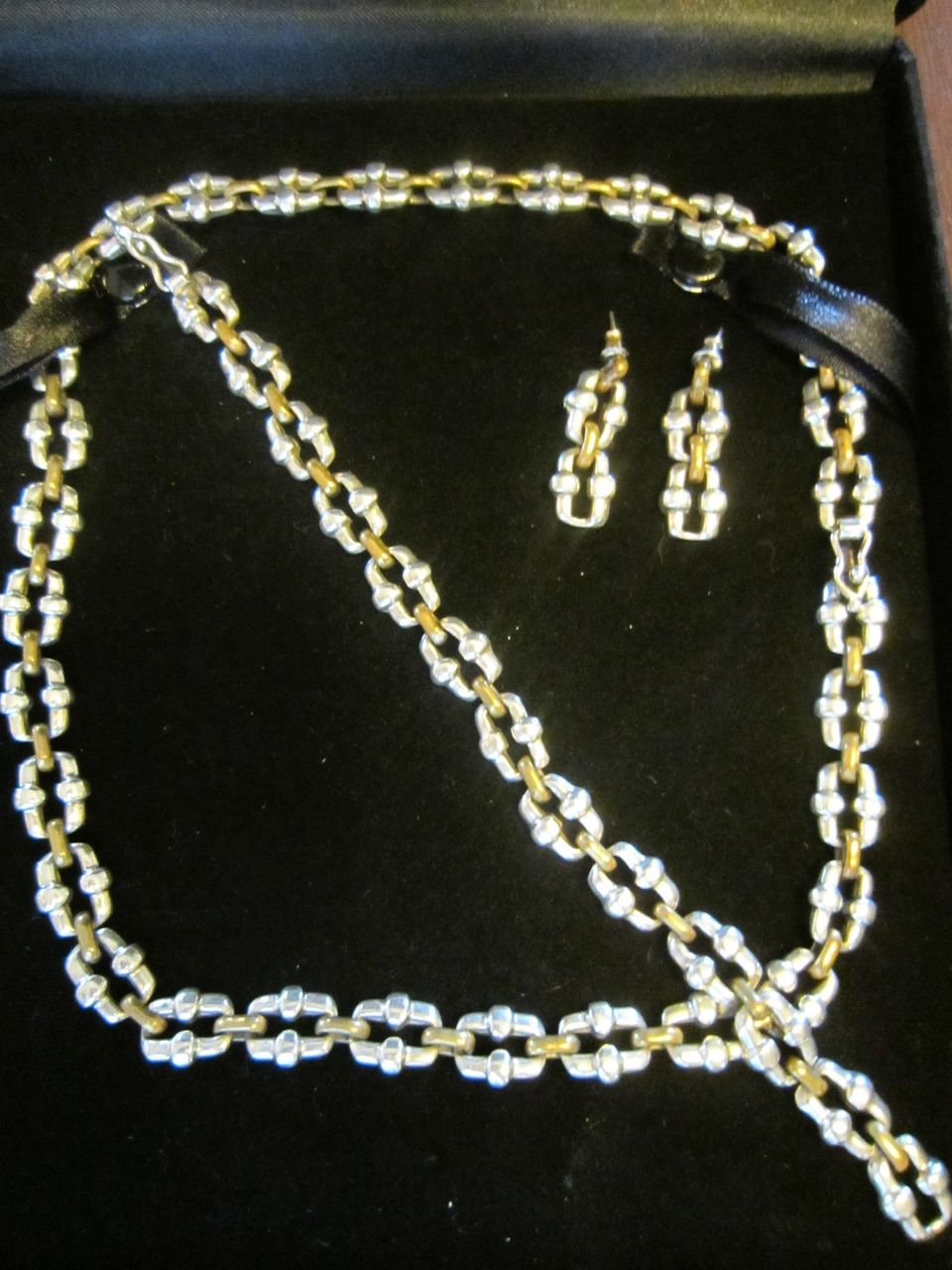 Sterling and Vermeil Set: Necklace, Bracelet, and Earrings - Taxco