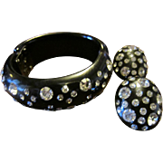 Weiss Black Clamper with Clear Rhinestones - Bracelet & Earrings