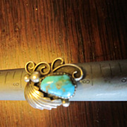 Navajo Sterling Turquoise Ring - Size 6 1/2""