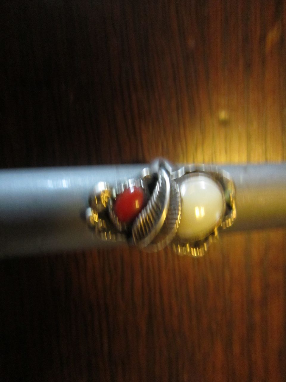 Navajo Ring - Coral, Mother of Pearl and Sterling