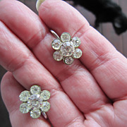 Coro Rhinestone Flower  Earrings