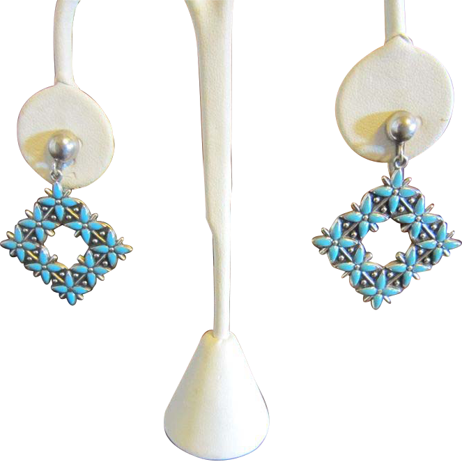 Dangle Earrings by Bell - Turquoise Enamel and Sterling - Southwestern