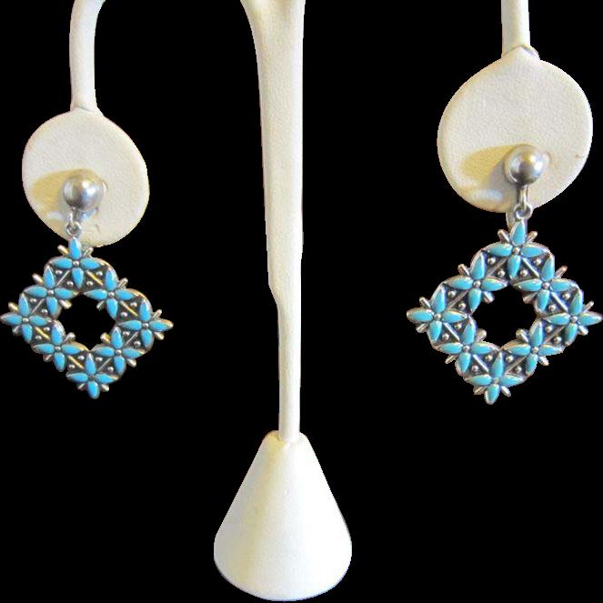 Dangle Earrings by Bell - Turquoise Enamel and Sterling - Southwestern