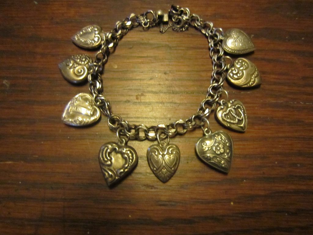 Puffy Hearts on a Danecraft Charm Bracelet