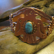 Harvey Era Bell Copper Thunderbird Cuff  Bracelet with Turquoise