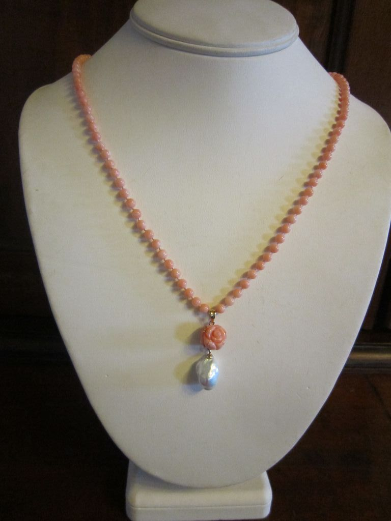 Angel Skin Coral Bead Necklace with Carved Coral Rose Pendant