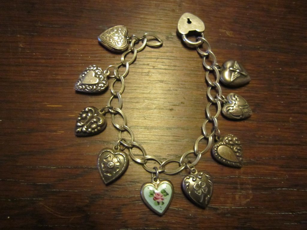 Sterling Puffy Heart Charm Padlock  Bracelet -  For a Small Wrist