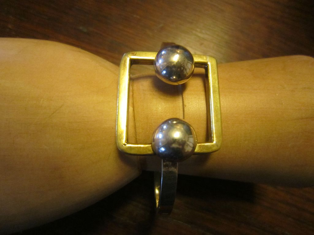 Laton Modernist Bracelet - Sterling and Brass