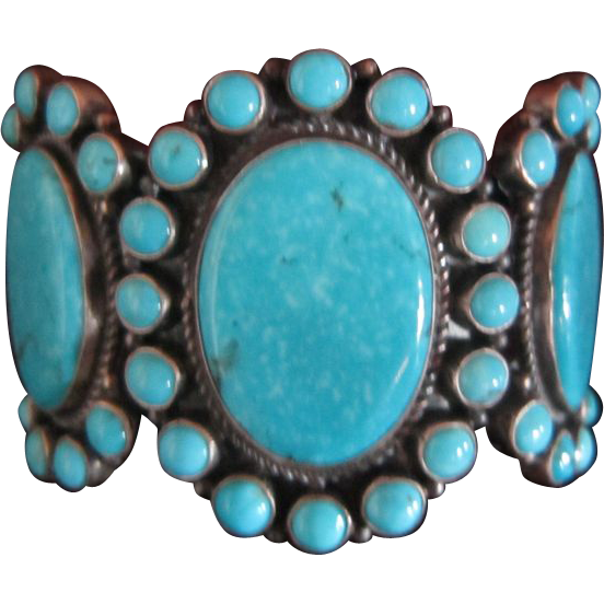Dean Brown Turquoise Cluster Cuff Bracelet - Navajo
