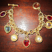 Textured Gold Tone Bracelet - Heart and Faux Pearl Charms