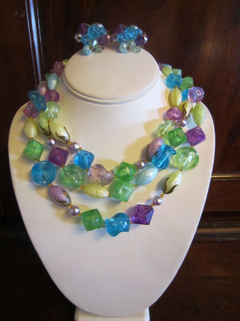 Spring is Here - German Multi Color Bib Necklace and Earrings