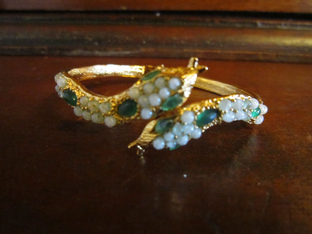 Swoboda Snake Clamper -  Jadeite and Gold Plated Metal