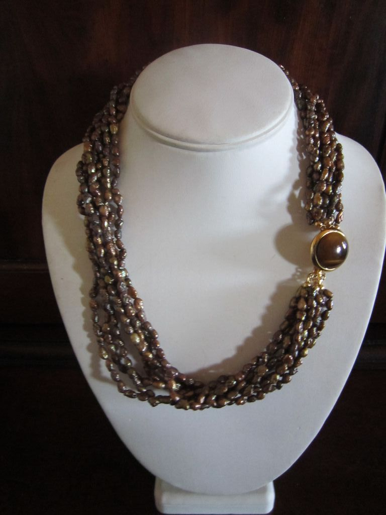 8 Strand Bronze Dyed Saltwater Pearl Necklace - Tiger Eye Clasp