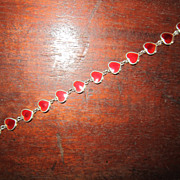 Volmer Bahner Red Enamel Heart  Sterling  Link Bracelet