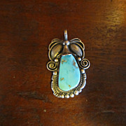 Navajo Ed Kee Turquoise Mountain Sterling Pendant