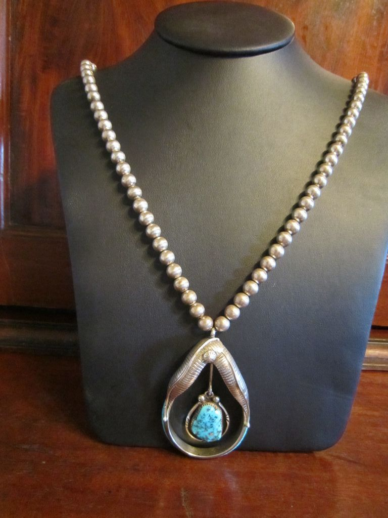 Sterling Turquoise Pendant with Sterling  Beads