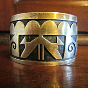 Hopi Overlay Sterling Cuff Bracelet