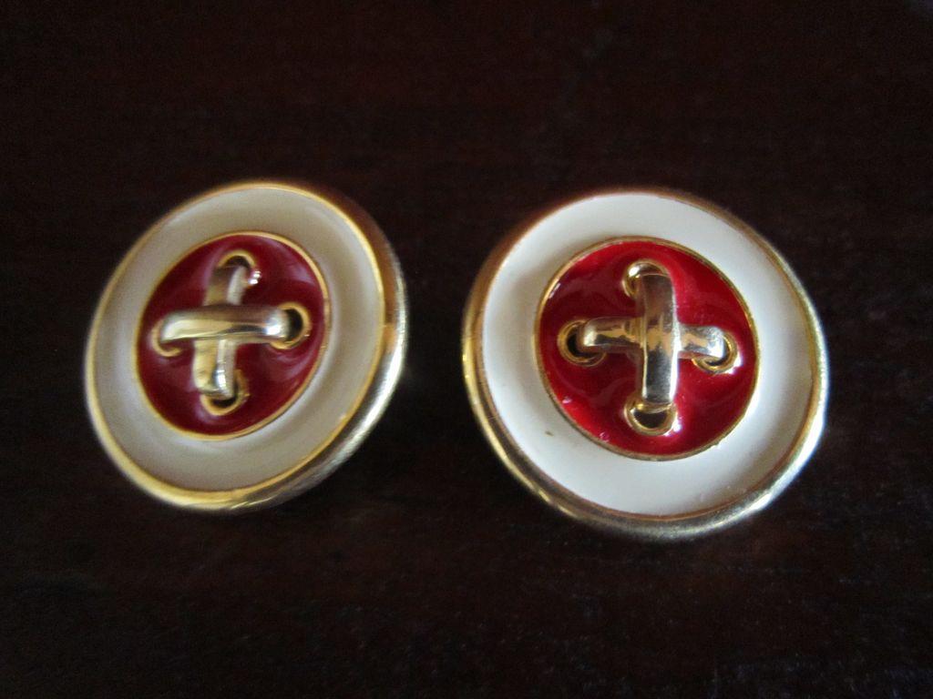 Button Earrings- Big 80s Look