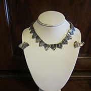 Early Los Castillo Sterling Fan Necklace and Earrings