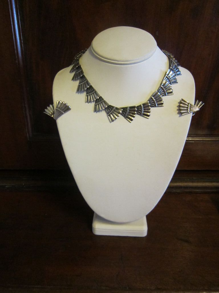Early Los Castillo Sterling Fan Necklace and Earrings