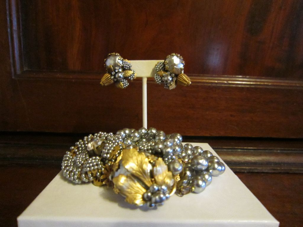Miriam Haskell Decorated Faux Pearl Bracelet and Earrings