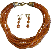 Don Lucas Carnelian and Sterling Necklace and Earrings