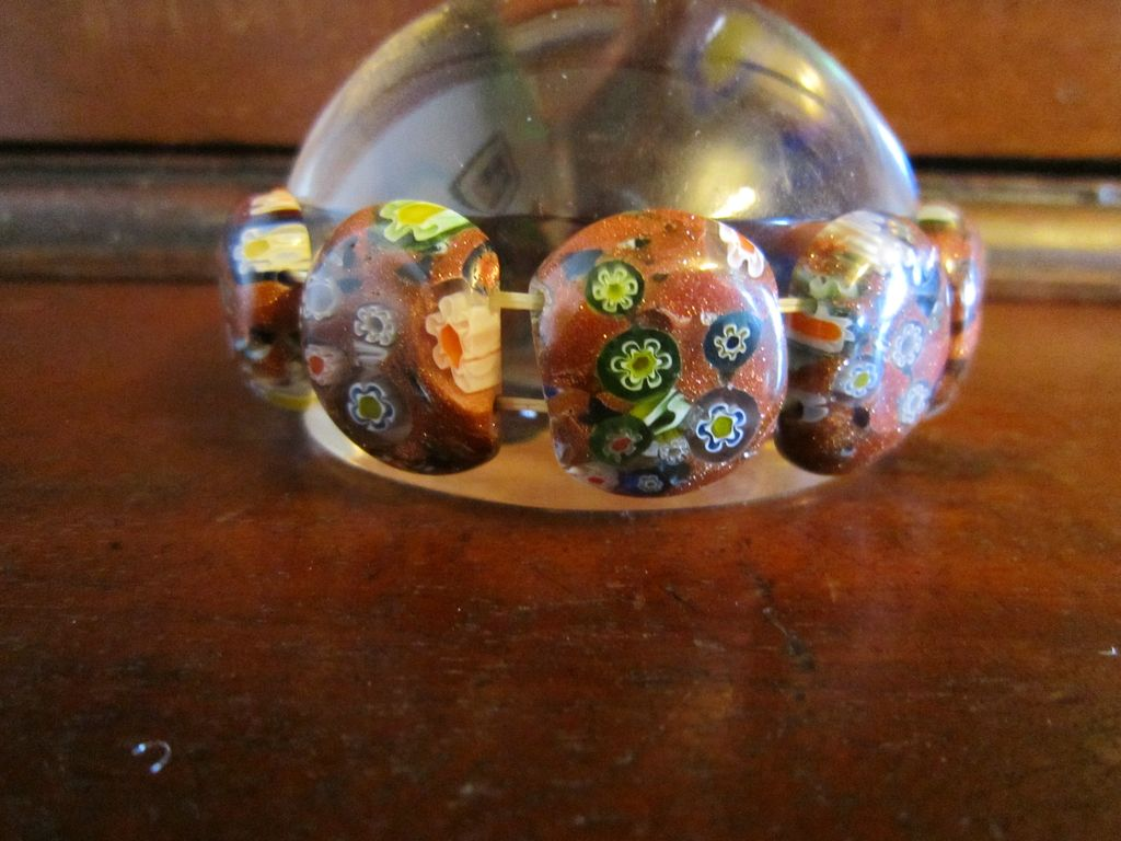 Venetian Murano Millefiori Bracelet - Copper Flecks