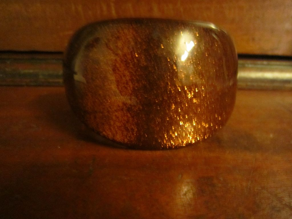 Large Lucite Bangle  Copper Color with Metallic Copper Flecks