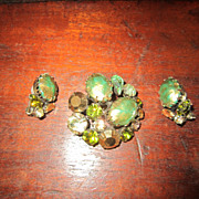 Regency Brooch and Earrings with Green Art Glass
