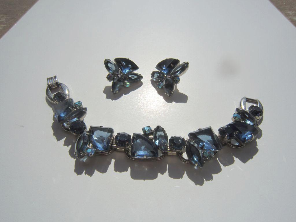 Juliana Navy and Smokey Blue Bracelet and Earrings