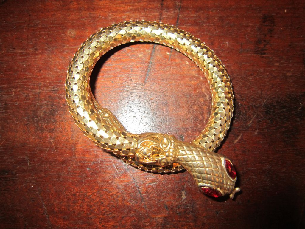 Gold Tone Snake Wrap Bracelet - Red Rhinestone Eyes
