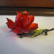 Lucite Rose Brooch - Enameled Leaf, Black Findings