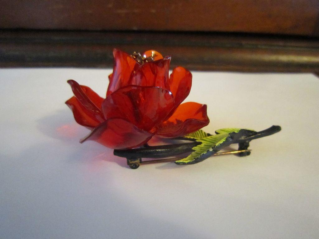 Lucite Rose Brooch - Enameled Leaf, Black Findings
