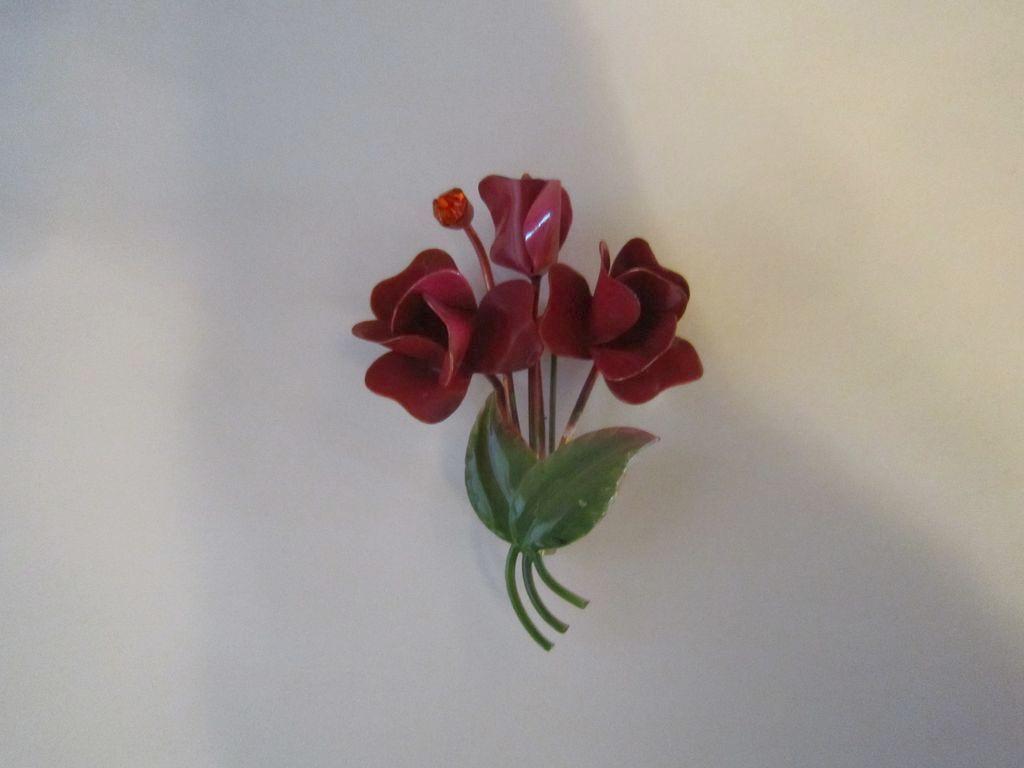 Rose and Green Enamel Flower Brooch